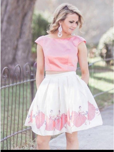 Bateau Pink Two Piece Cap Sleeve Floral Print Homecoming Dress OM126