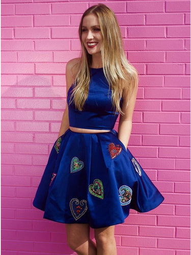 Royal Blue Two Piece Round Neck Homecoming Dress with Pockets