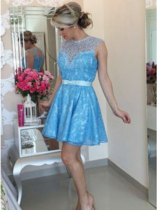 A-Line Jewel Keyhole Back Lace Short Prom Homecoming Dress With Bowknot OM130