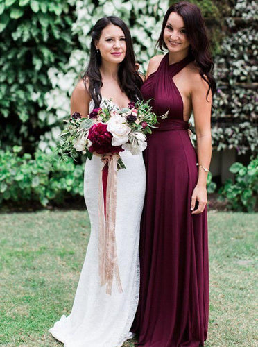 Halter Sleeveless Chiffon Long Bridesmaid Dress Grape Wedding Party Dress OB358