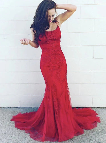 Mermaid Lace Long Prom Dress Burgundy Tulle Evening Dress PO362