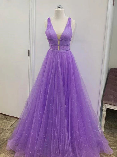 A Line V Neck Tulle Purple Prom Dresses Long Formal Evening Dresses PO108