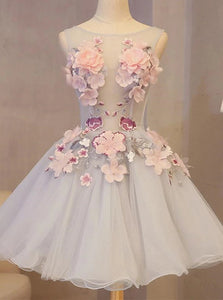 A-line Tulle Homecoming Dress with 3D Appliqued, Short Prom Dress OM436