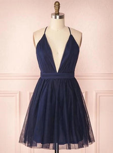 Navy Blue Short Prom Dress Spaghetti V-neck Tulle Homecoming Dresses OM432