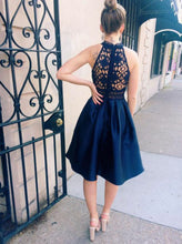 Navy Blue High Neck Asymmetrical Lace Bodice Satin Homecoming Dress OC127