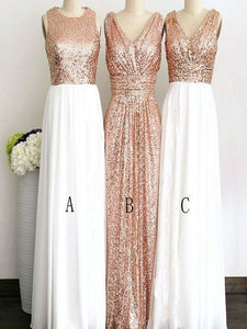 Round/V-neck A/B/C Pattern Long Sequins Rose Gold Bridesmaid Dresses, OB135
