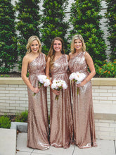 Luxury One-Shoulder Sparkly Sequined Rose Gold Bridesmaid Dresses, OB136