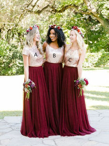Elegant Burgundy Chiffon A/B/C Pattern Sequined Rose Gold Bridesmaid Dresses, OB137