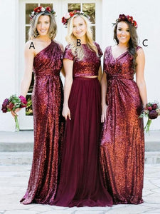 One-Shoulder/Bateau/V-neck A/B/C Pattern Burgundy Sequins Mismatched Bridesmaid Dresses, OB138