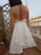 Sexy Sheer Neck Illusion Back with Ruffled Handmade Red Flowers Short Prom Party Dress, OP114