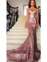 Sexy Long Mermaid Backless Evening Dress, Sequins Rose Gold Prom Dress, OP116