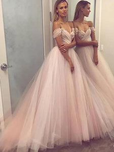 Elegant Off-Shoulder Tulle A-Line Formal Dress, Drop Sleeve Ball Gown Prom Dress, OP117
