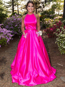 Two Piece Halter Fuchsia Satin with Pockets Beading Prom Dress, OP118