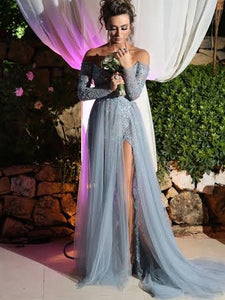 Sexy Off Shoulder Applique Long Sleeve Side Slit Prom Graduation Evening Dresses, OP119