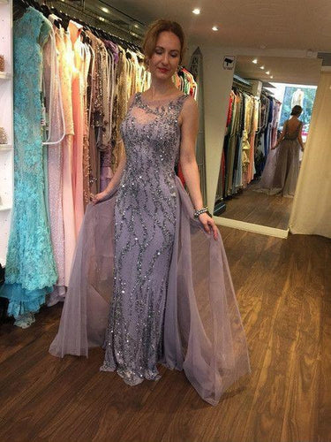 2018 Elegant Sheath/Column Beading Long Prom Dress, Sexy Evening Dress, OP120