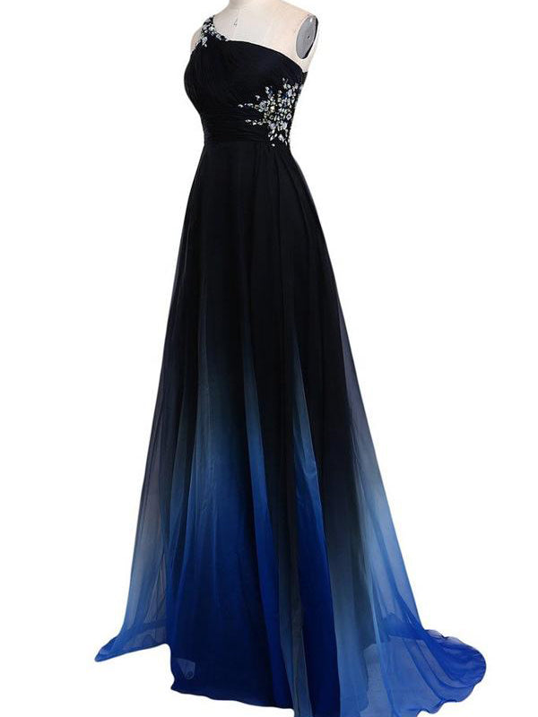 One Shoulder Cut Out Back Beading Blue Ombre Prom Dress, Long Formal Dress, OP121