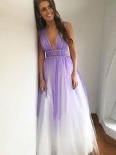 Straps Plunge Neckline Lilac Ombre Long Prom Dresses, Backless Evening Dress, OP122