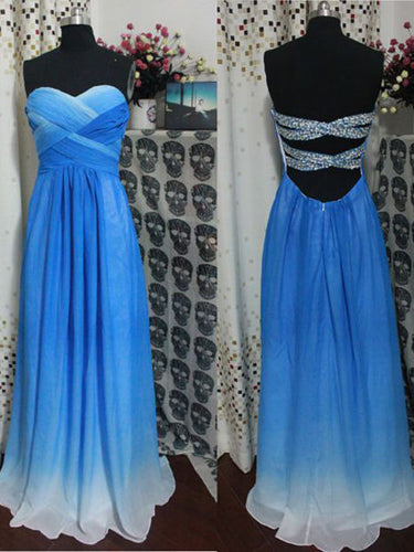 Sweetheart Blue Ombre Long Prom Dress, Cut Out Beading Back Bridesmaid Dress,OP123