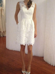 Simple Elegant Lace V-neck Knee-Length Bridal Gowns, Short Wedding Dresses, OW136