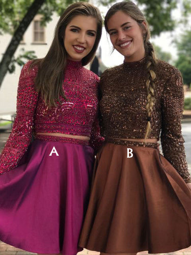 Two Piece Keyhole Back Short Prom Dress, Long Sleeve Party Dresses With Beaded, OP128