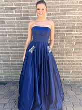 Strapless Princess Long Prom Dresses with Beaded Pockets, Plus Size Evening Gowns,OP129