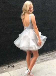 A-Line V-Neck Silver Appliques Layers Tulle Short/Mini Backless Party Dress OC128