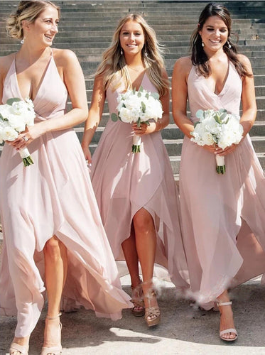 A-line V-neck Hi-low Blush Pink Chiffon Long Bridesmaid Dresses OB397