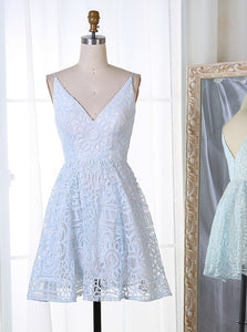 A-Line Spaghetti V-neck Short Prom Dresses Lace Homecoming Dress OM301