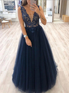Dark Blue V-neck Tulle Beads Long Prom Dresses,  Long Evening Dress PO217