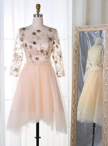 A-Line Bateau 3/4 Sleeves Stars Embroideried Tulle Homecoming Dress OM302