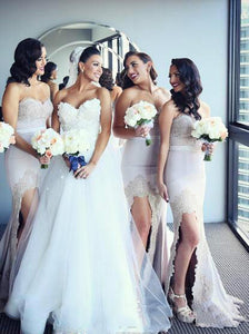 Mermaid Bridesmaid Dresses Sweetheart Lace Bridesmaid Dress With Split OB393