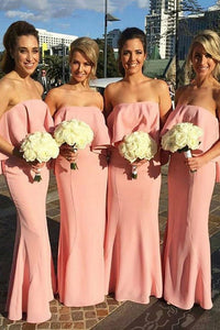 Mermaid Strapless Pink Long Bridesmaid Dresses With Ruched OB395