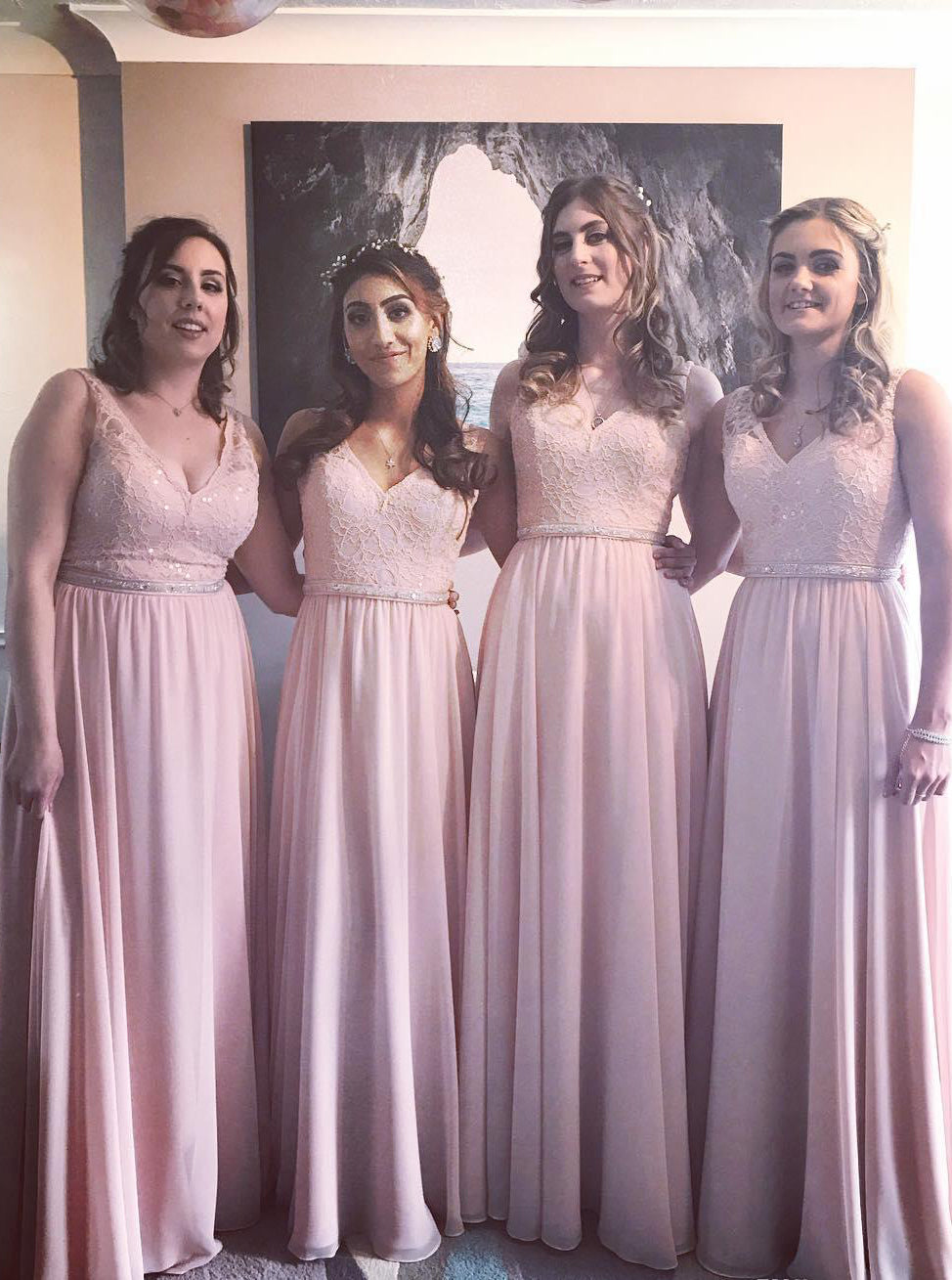 A-line Pink Bridesmaid Dresses Chiffon Lace Long Bridesmaid Dress OB391