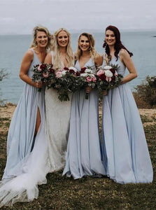 V-Neck Dusty Blue Bridesmaid Dresses Long Backless Split Bridesmaid Dress OB392