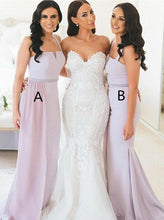 Spaghetti Straps Long Bridesmaid Dresses Mermaid Wedding Guest Gowns OB394