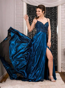 A-line Satin Long Prom Dresses With Beading, Sexy Split Evening Dress PO162