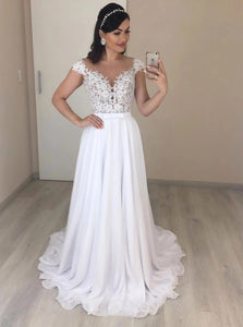 A-line Chiffon Wedding Dresses With Appliques, Backless Beach Bridal Gown OW613