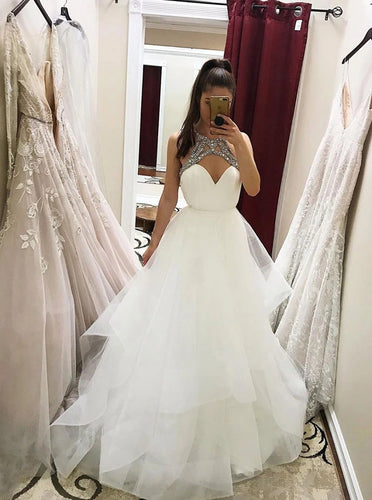 Gorgeous A-line White Tulle Beaded Long Prom Wedding Dresses OW643