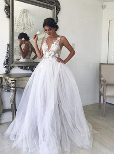 Boho A-line V-neck Tulle Wedding Dresses, Beach Bridal Gown With Appliques OW612