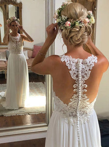 A-line Scoop Neckline Ivory Chiffon Lace Long Beach Wedding Dress OW611