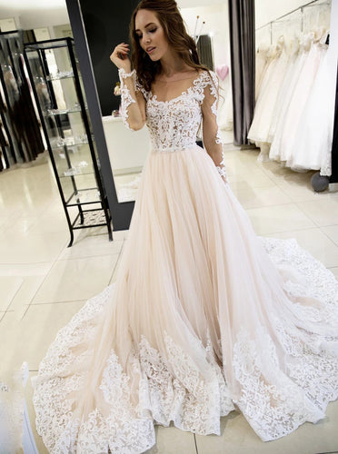 Sheer Round Neckline Tulle Lace Appliques Long Sleeves Wedding Dresses OW616