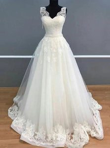 A Line V Neck Ivory Tulle Long Wedding Dresses with Appliques OW619