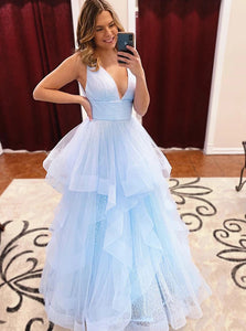 A Line V Neck Light Sky Blue Prom Dresses Long Formal Evening Dresses PO106