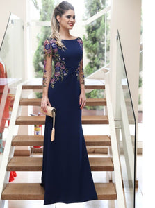Long Sleeves Navy Blue Mermaid Prom Dresses Long Formal Dresses PO302