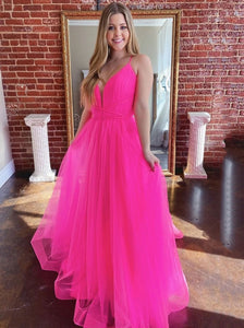 Simple V-neck Tulle Long Prom Dresses Fuchsia Formal Dress PO367