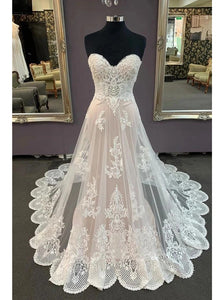 Sweetheart Lace Appliques Beach Wedding Dress, Cheap Bridal Dress OW702