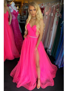 Fuchsia Backless Long Prom Dresses With Split, Tulle Graduation Gown PO364