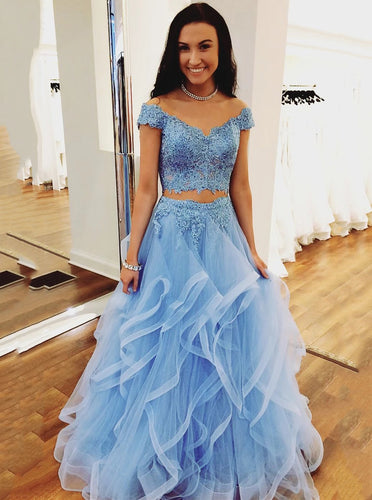 Off Shoulder A Line Tulle Ruffled Lace Beaded Two Piece Blue Prom Dresses PO140