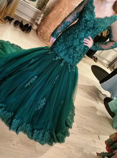 Dark Green Mermaid Evening Dresses Tulle Long Sleeves Appliques Party Gowns PO305