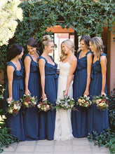 Ruffles V-neck Sleeveless Navy Blue Long Bridesmaid Dresses OB380
